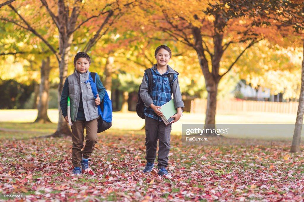 Two elementary-age boys walk to school through the park : Stock Photo
