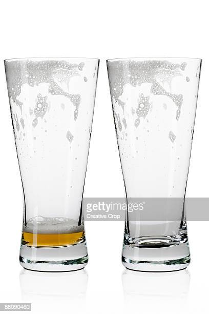 Two empty beer / lager glasses