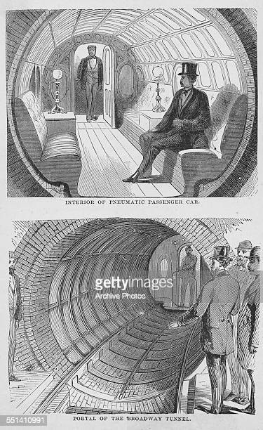 Two engraved scenes of the New York City subway depicting the interior of a pneumatic passenger car and the portal of the Broadway tunnel circa 1915