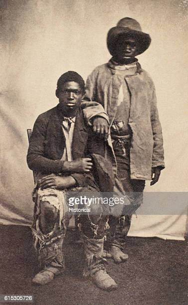 Two escaped slaves intelligent contrabands in the language of the times posed for this portrait in 1862 or 1863 Many escaped slaves found employment...