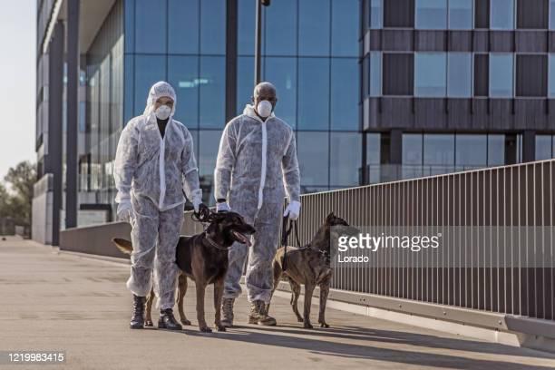 ウイルスの流行時にフェイスマスクを着用した2人の重要な警備員 - 訓練犬 ストックフォトと画像