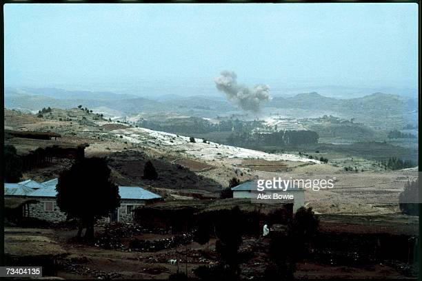Two Ethiopian Mig21s bombing a village in a valley in the Eritrean highlands 18th July 1978