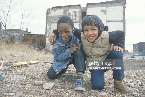Two ethnic boys in the ghetto South Bronx NY