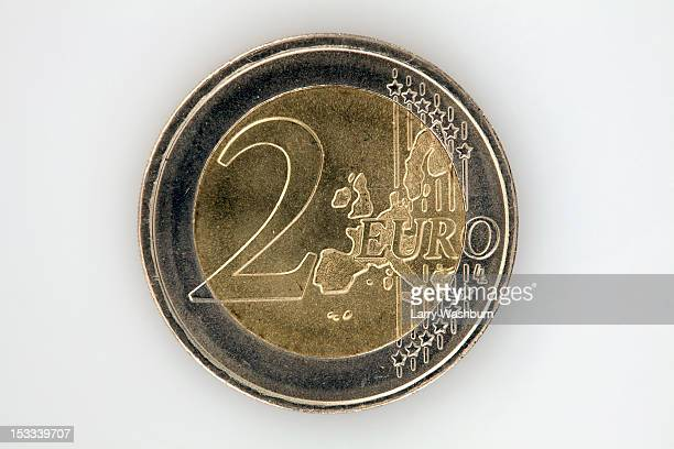 A two Euro coin, close-up