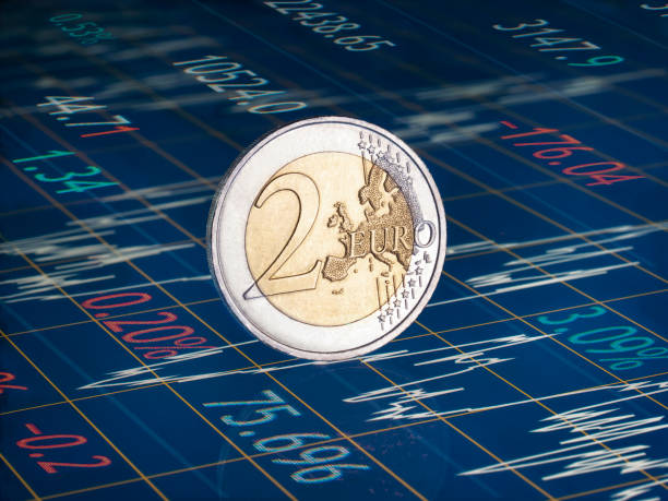 Two Euro coin on financial chart with graph and figures