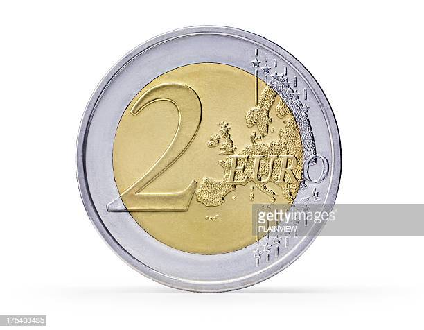 two euro coin (+clipping path) - number 2 stock pictures, royalty-free photos & images