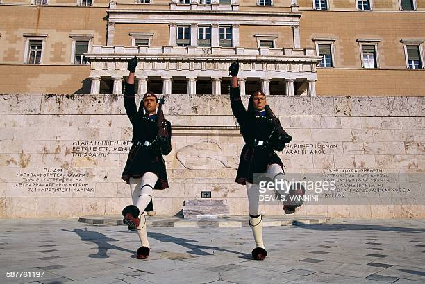 Two Evzones during the changing of the guard in front of Parliament Syntagma square Athens Greece