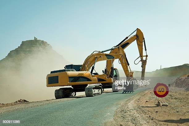 2 つの掘削器機能、N 09 road ,Morocco