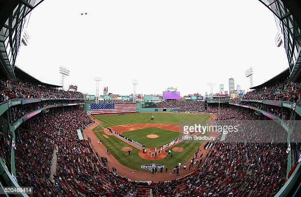 Two F16 fighter jets from the 158th Fighter Squadron Air National Guard perform a flyover prior to the home opener between the Boston Red Sox and the...