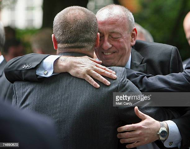 Two Falklands veterans hug as they meet in St James Park June 17 2007 in London Today marks the final day of commemorations taking place in the...