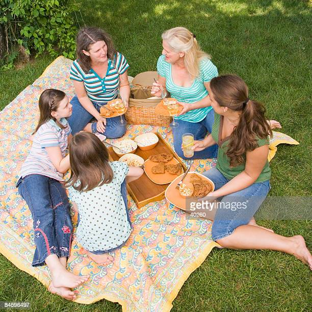 Two families sitting on a picnic blanket