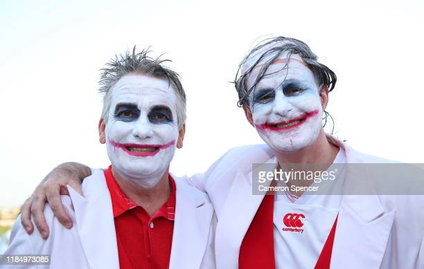 Two fans dressed as the joker are seen outside the stadium prior to the Rugby World Cup 2019 Final between England and South Africa at International...