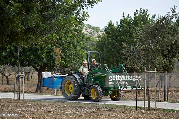 two farm workers driving big tractor - klaus vedfelt mallorca stock pictures, royalty-free photos & images