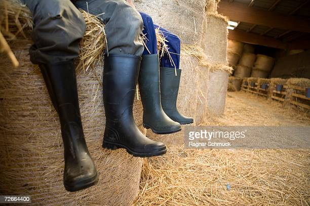 Two farm workers sitting in barn