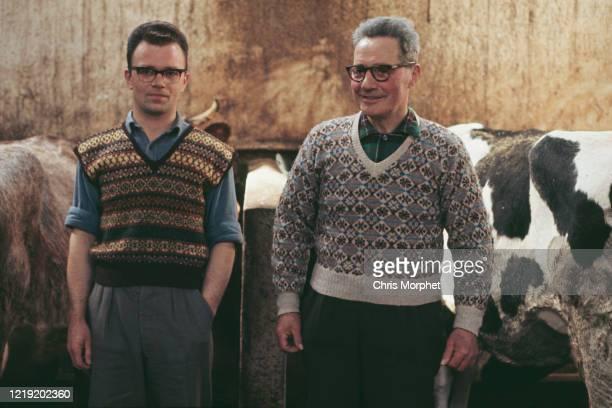 Two farmers in Fair Isle pattern knitwear, in a cowshed, Shetland Islands, Scotland, June 1970.