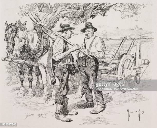Two farmers in front of a horsedrawn cart chatting about how to make adulterated milk and butter illustration from Fliegende Blaetter humour and...