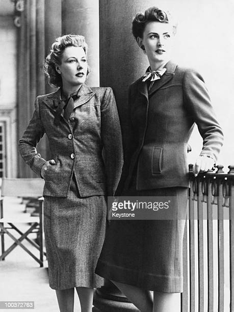 Two fashion models working at a Board of Trade utility clothing display London 22nd September 1942 On the left is an original westend outfit and on...