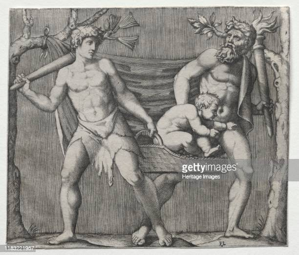 Two Fauns Carrying a Child in a Basket circa 15131515 Creator Abraham Bloemaert