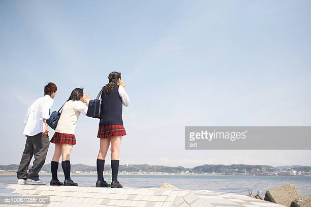 Two female and one male high school students (17-18) looking at sea, rear view