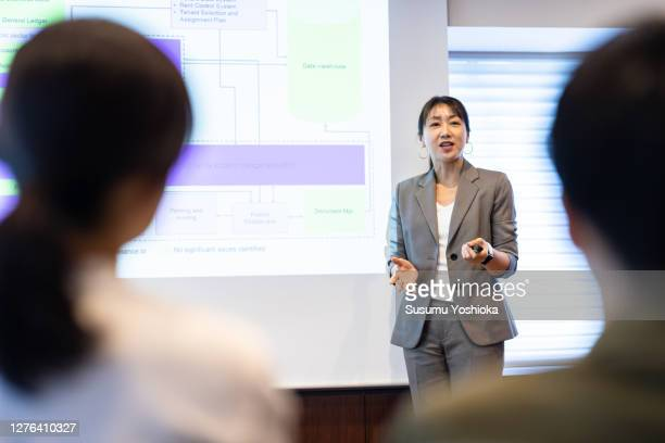 two female businessmen and their assistants are meeting in a co-working space - japan stock pictures, royalty-free photos & images
