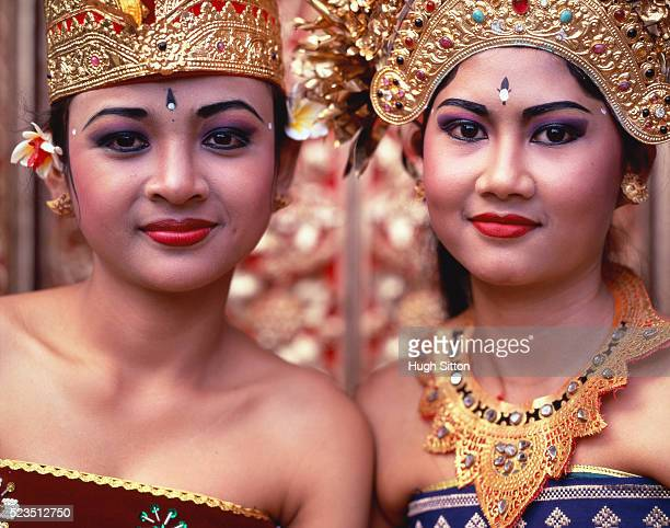 Two female folk dancers