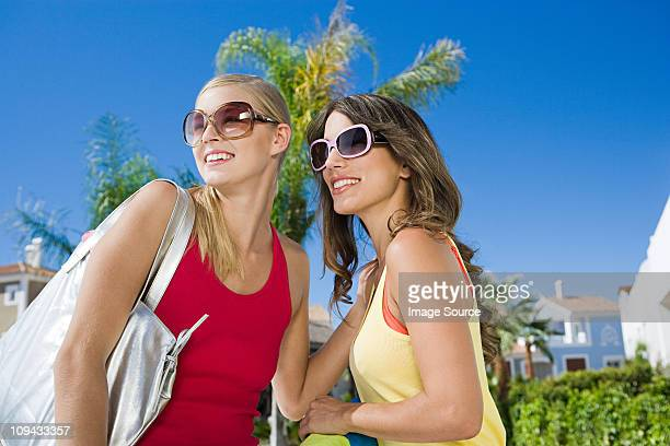 two female friends on vacation - only mid adult women stock pictures, royalty-free photos & images