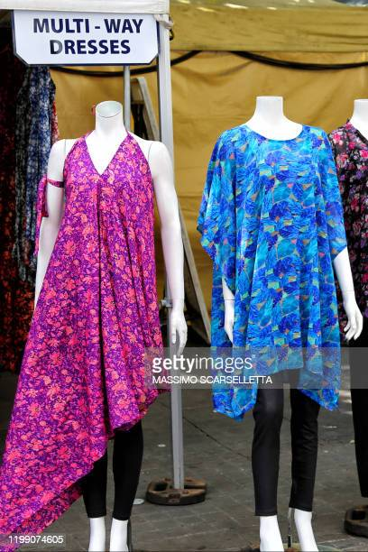 two female mannequins in a outdoor shop - fashion collection stock pictures, royalty-free photos & images