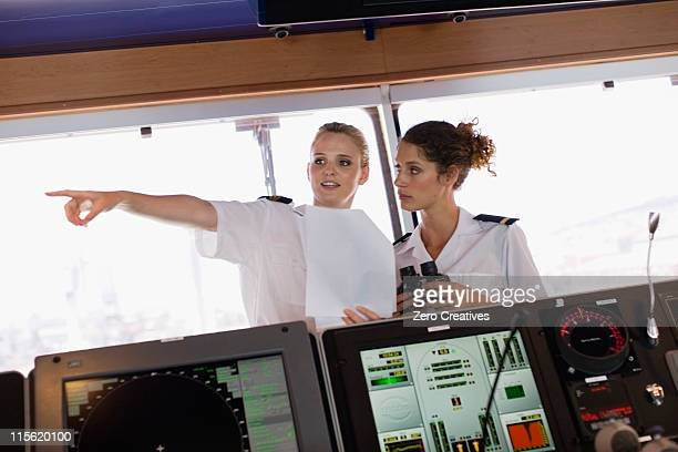 Two female sailors on ship