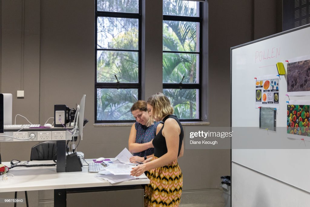 Two female scientists standing in a laboratory discussing scientific papers and research results. Wide angle, side view of them both standing at the desk looking down at the paperwork on the desk. : Stock Photo