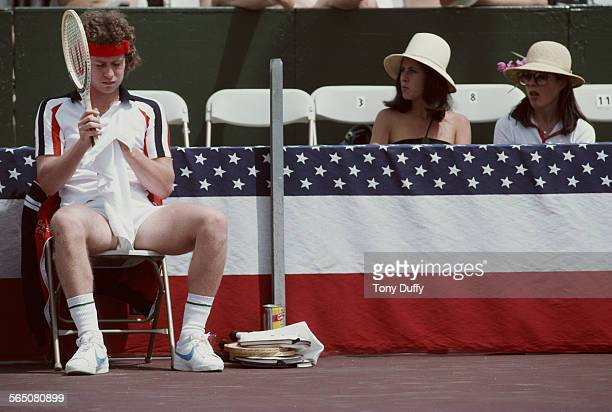 Two female spectators looking at John McEnroe of the United States during the Alan King Tennis Classic on 23 April 1979 at Las Vegas Nevada United...