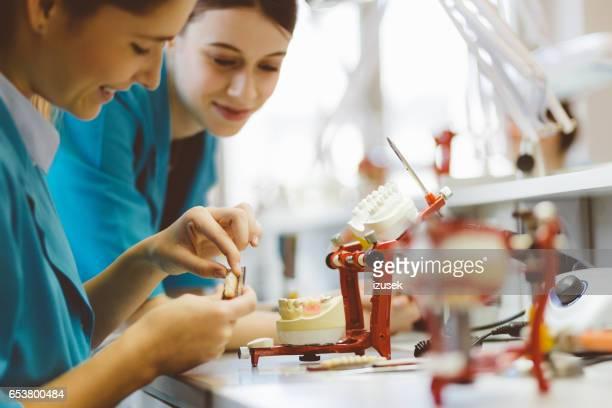 Twee vrouwelijke studenten leren Prothetische Tandheelkunde
