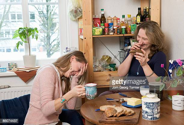 Two females having breakfast