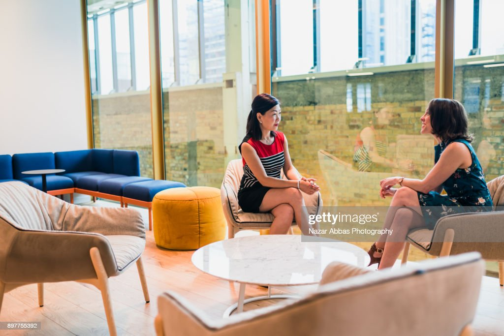 Two females in a business discussion. : Stock Photo