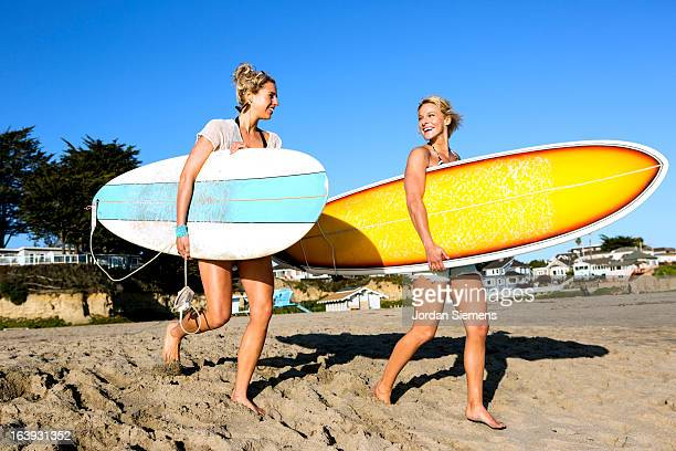 Two females surfing.