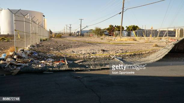 Two fences that were pushed over by people escaping the gunfire from the Route 91 Harvest Festival mass shooting on October 6 in Vas Vegas NV The...