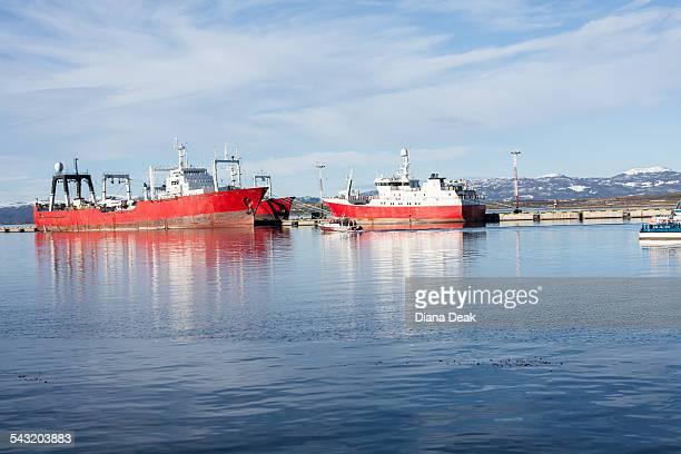 Two ferries moored in harbor, Ushuaia, Tierra del Fuego, Argentina
