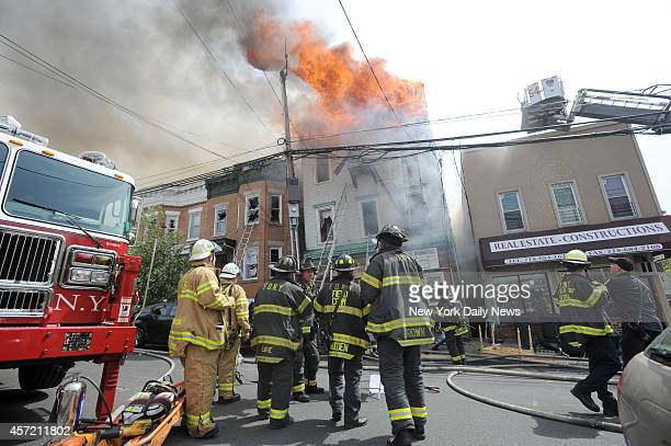 Two firefighters were seriously injured fighting a four alarm fire on Van Nest Ave in the Morris Park area of the Bronx