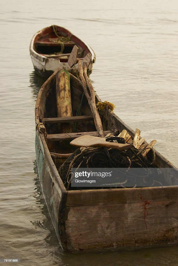 Two fishing boats at the port, Taganga Port, Taganga Bay, Magdalena, Colombia : Stock Photo