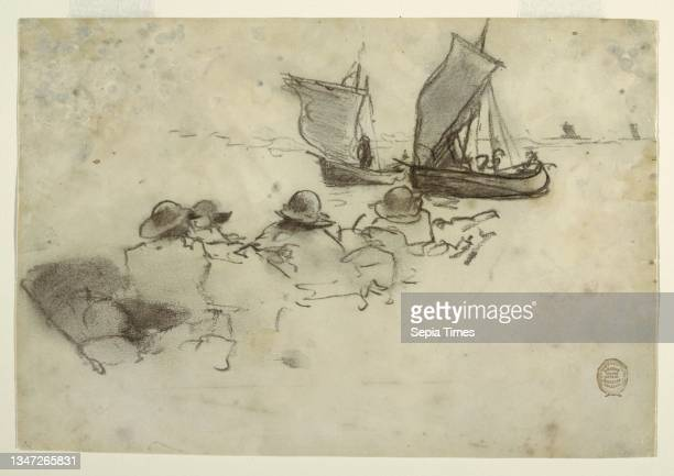 Two Fishing Boats with Sails, Cullercoats, England, Winslow Homer, American, 1836–1910, Charcoal on cream wove paper, Horizontal view of heads and...
