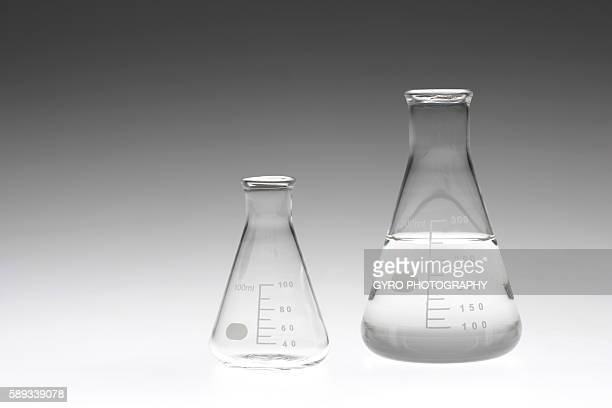 Two flasks, colored background