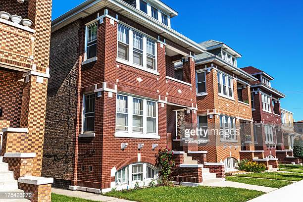 two flats in archer heights, chicago - chicago illinois stock pictures, royalty-free photos & images