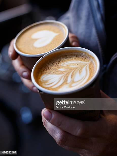 Two foamy caffe lattes