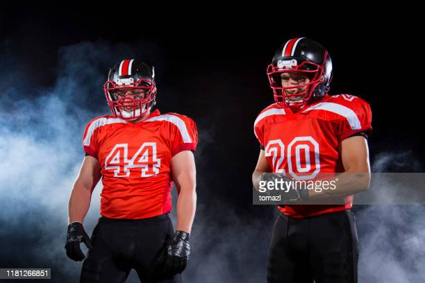two football players portrait - red alert 2 stock pictures, royalty-free photos & images