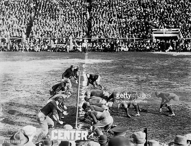 Two football teams on the line of scrimmage and ready to snap the ball United States 1912