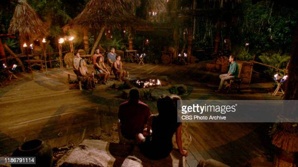 Two for the Price of One Jeff Probst addresses Dean Kowalski Lauren Beck Aaron Meredith Noura Salman Dan Spilo and Janet Carbin at Tribal Council on...