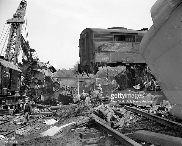 Two freight trains operating on a single track and traveling toward each other at a 40 mileanhour clip collided in the New York Central's West Side...