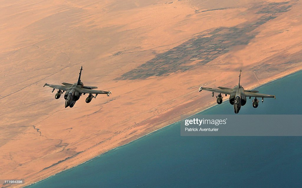 French Air Force Refueling C.135 Enforcing The No-Fly Zone On Libya : News Photo