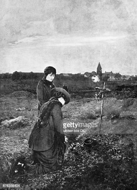 Two French women lying flowers on the field after the battle at the Marne in the near of Barcy Published in: The Sphere,