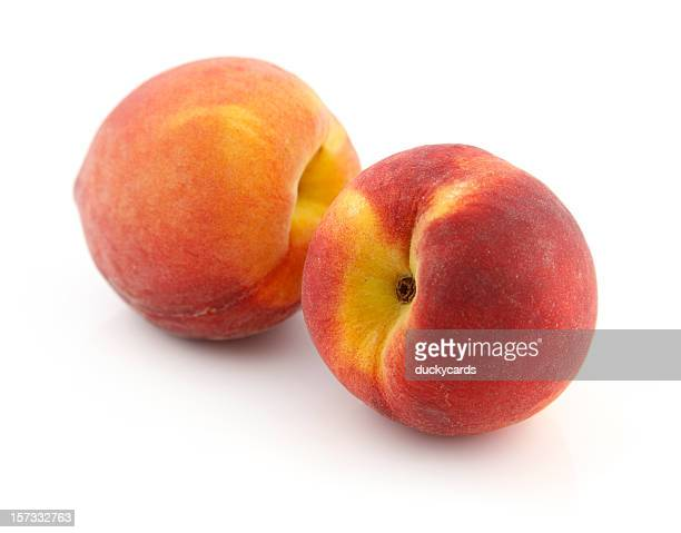 two fresh peaches - peach stock photos and pictures