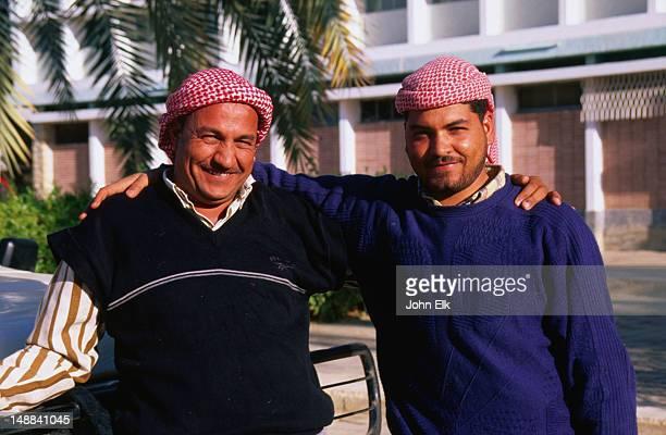 two friendly egyptian men. - only men stockfoto's en -beelden